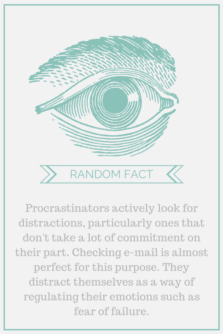 Random Fact:  Procrastinators actively look for distractions