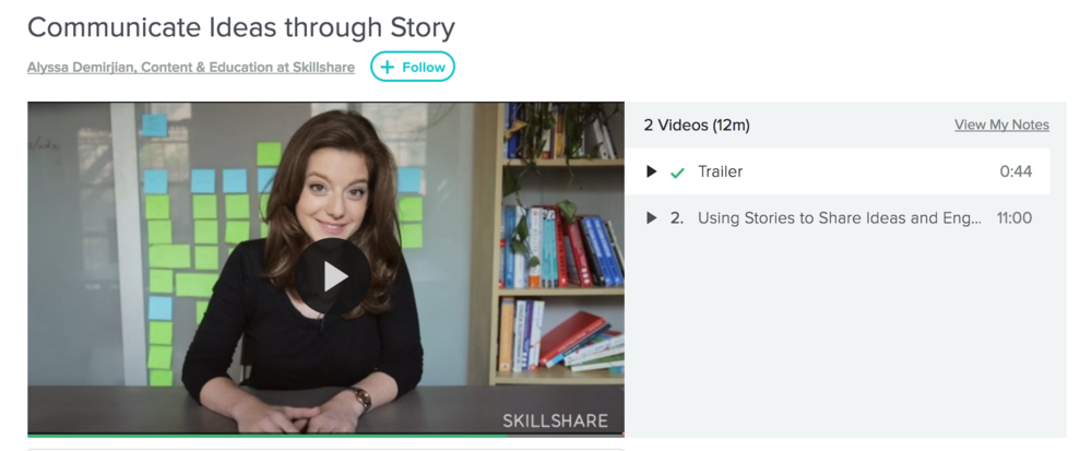 "Alyssa Demirjian's ""Communicate Ideas Through Story"" Skillshare course"