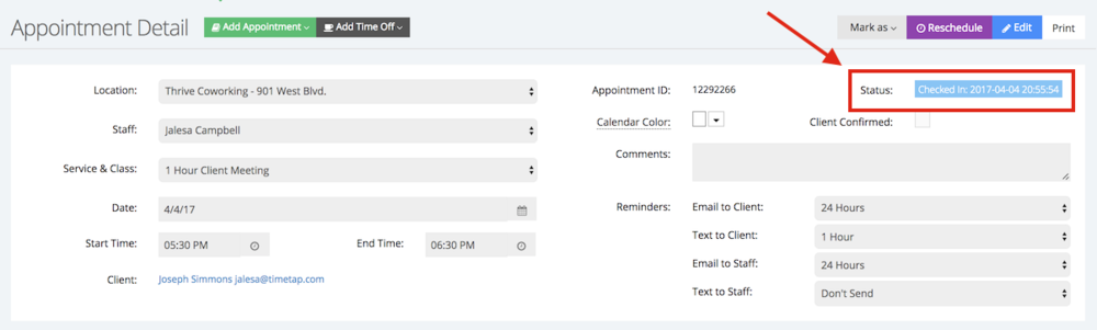 You can also view the time and date for a client check-in