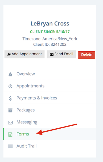 "You can find client agreements or contracts under the ""Forms"" tab"