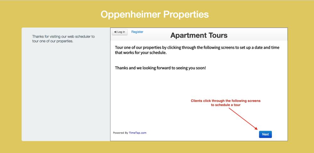 Clients can click through your scheduler to book their tour