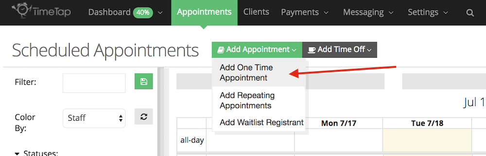 Add a one time appointment