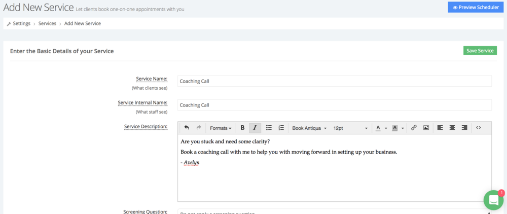 Create a new service and fill in appropriate information
