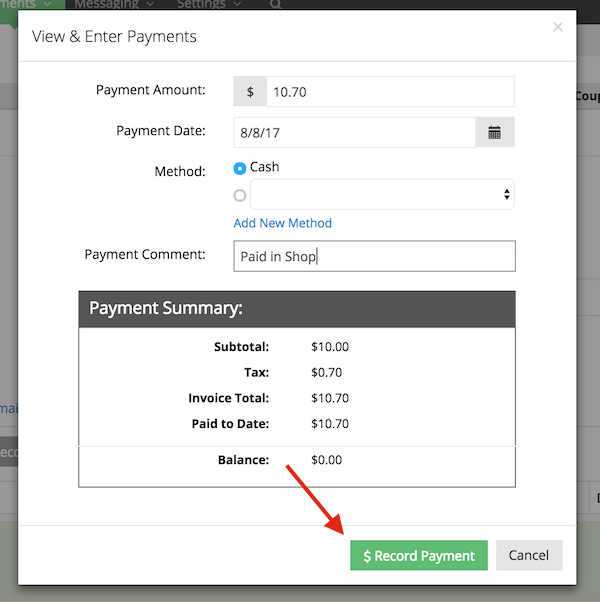 Record client's payment