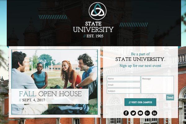 Sample university website