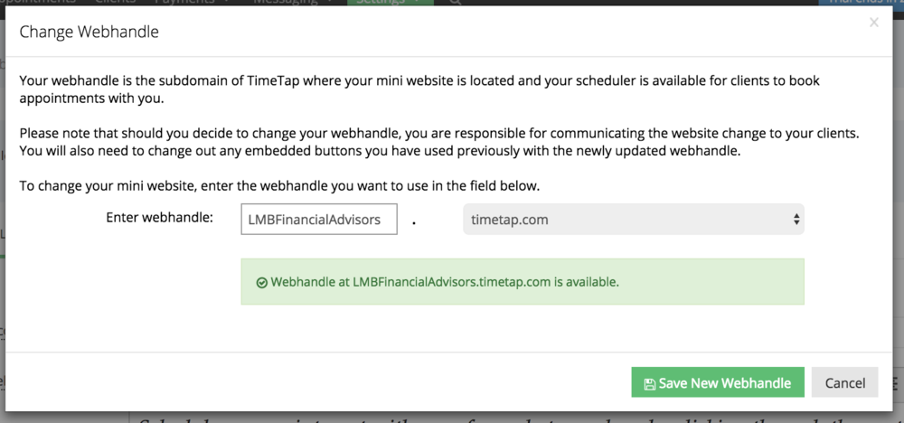 Customize your scheduling website's webhandle