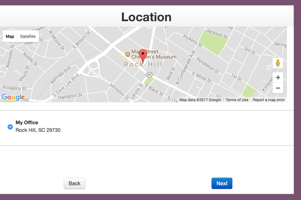A Google Map displays your office's location