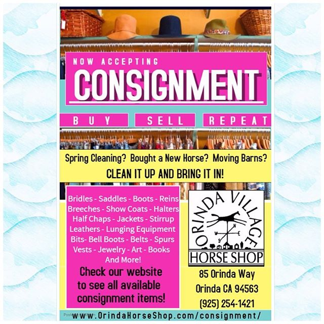 Bring on your stuff or check out the ever changing inventory on our website!  www.OrindaHorseShop.com #consignmenttack #bayareaconsignment #usedtack #usedtreasures