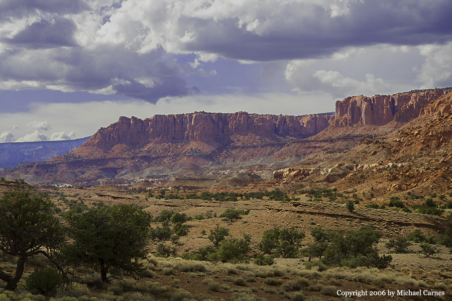 Distant mesas at Capitol Reef