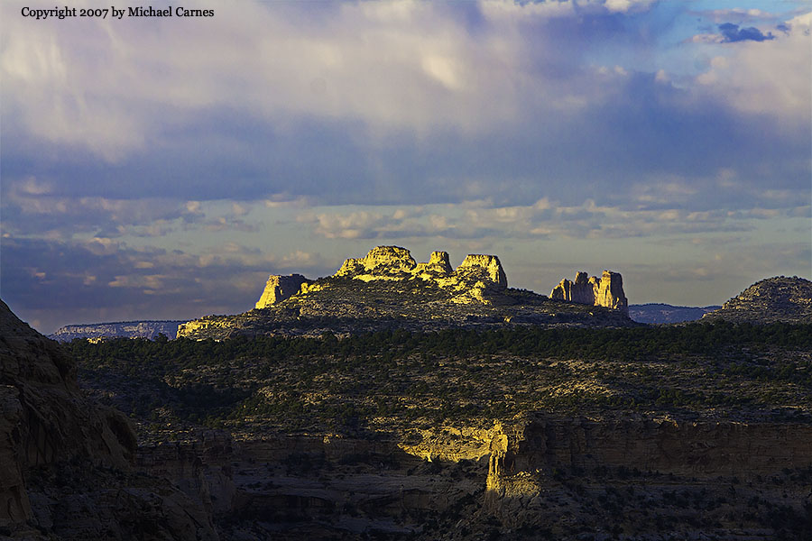 Castle-shaped formation at sunrise, Wedge Overlook