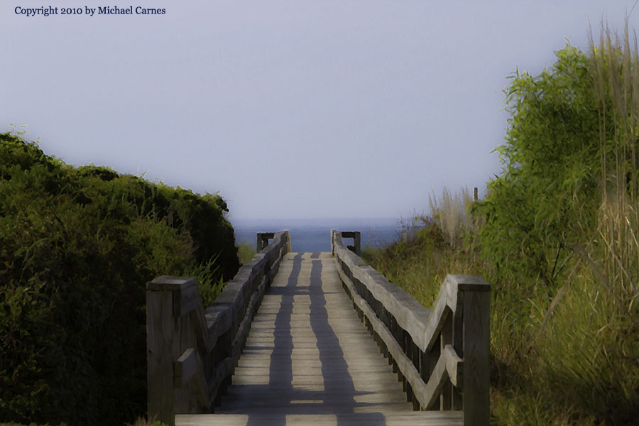 Beach walkway, given a painterly treatment