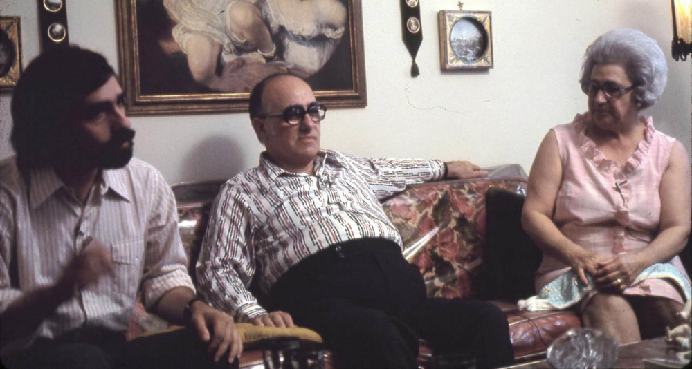 Martin Scorsese and his parents on the set of Italianamerican. (Image via Google.)