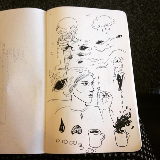 Airport doodles  #airportboredom #doodle #moleskine #sketchbook #icecream #coffee #foodart #cantdrawhands