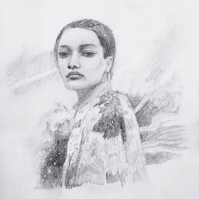 More portrait practice @lamekafox  #sketch #sketchbook #pencildrawing #snowyday #delicate #wip #blackandwhite
