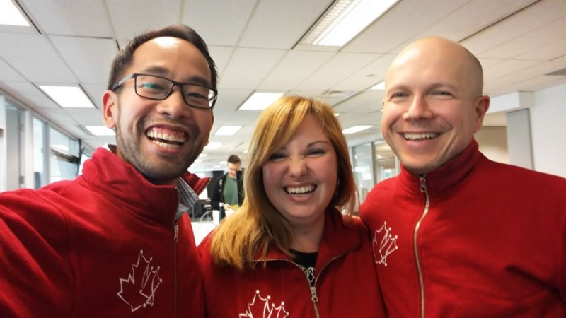 Daniel with his Code for Canada team members, Raluca Ene and Leon Lukashevsky!