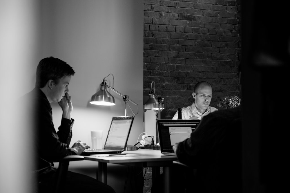 James and team working away in the early days of SAM in 2013 - just couple a years after the launch of Snapchat in 2011.