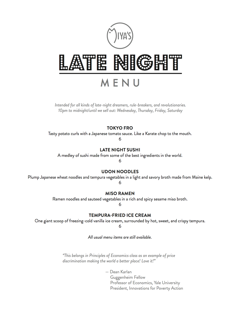 Late Night Menu, Thursday-Saturday, 10PM - Midnight