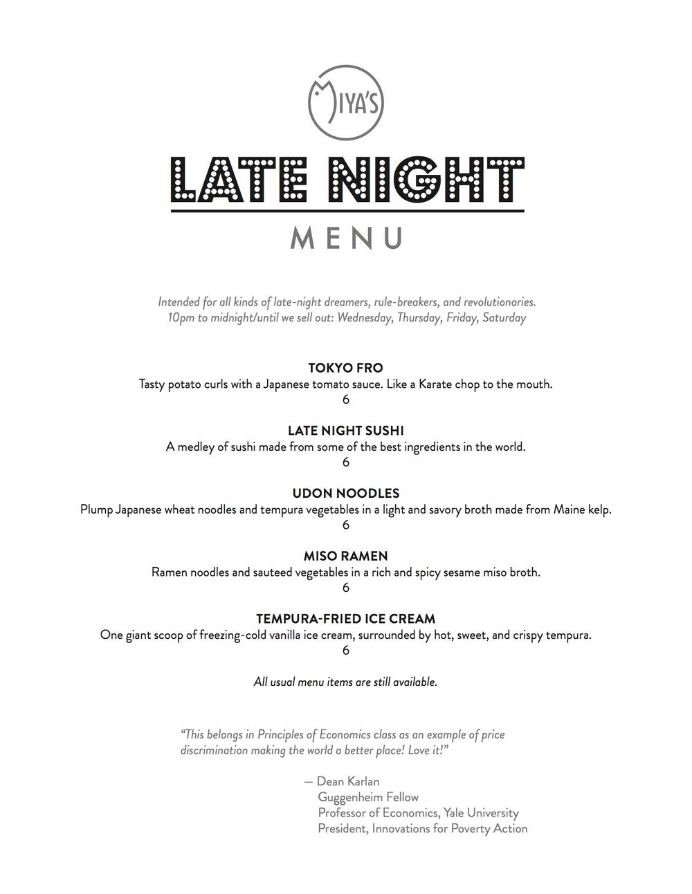 Late Night Menu, Thursday-Saturday, 10PM - Midnight