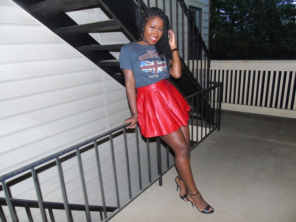 Thrifted Graphic Tee- Goodwill - $4, Skirt - Forever 21- $20,  Black Heels- Agaci' - $15