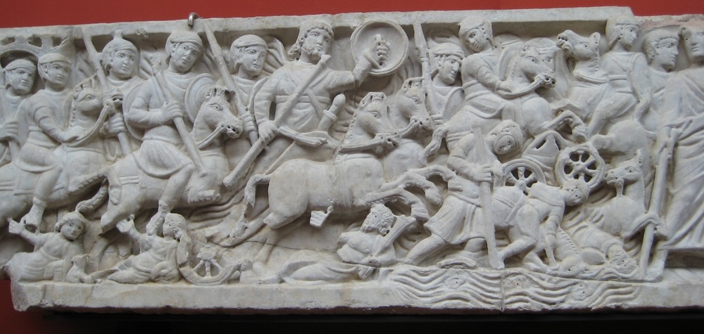 Frieze from a late Roman Christian sarcophagus: the parting of the Red Sea