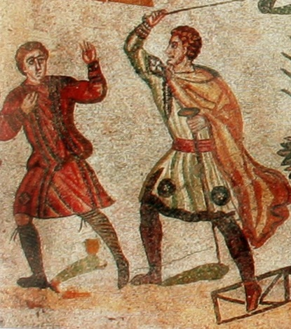 A Roman centurion, or ordinarius, identifiable by his broad-headed staff, beats a slave or labourer. From a mosaic in the villa of Piazza Armerina, Sicily. Early 4th century AD.