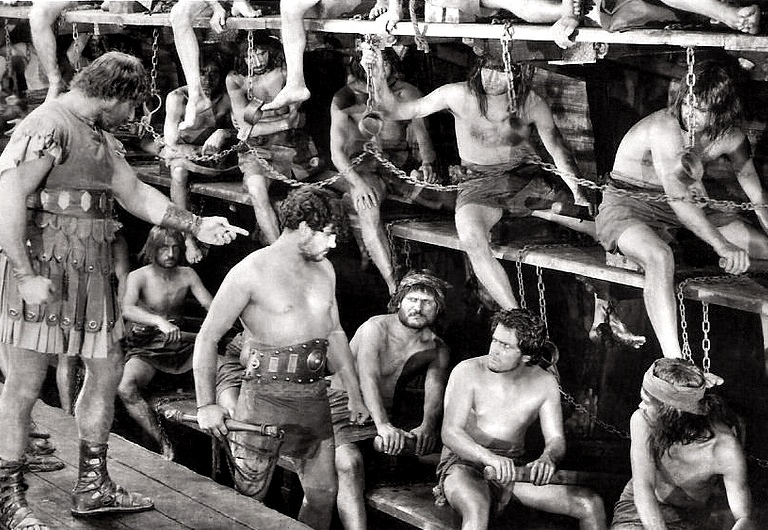 Galley slaves clash with vambraces: Ramon Novarro in the title role of the classic 1925 'Ben Hur'...