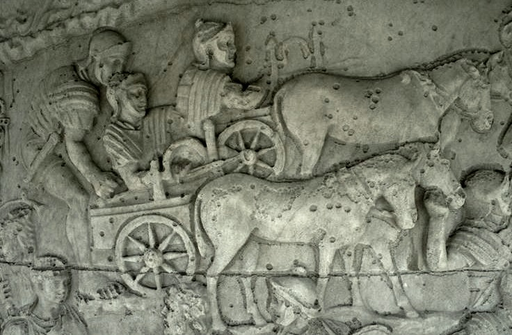 Roman cart-mounted bolt-shooting ballistae, shown on Trajan's Column (AD113)