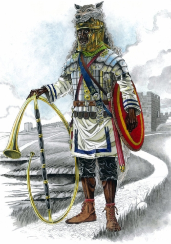 A black legionary cornicen on the northern frontier, c.AD200. Illustration by Pavel   Šimák.