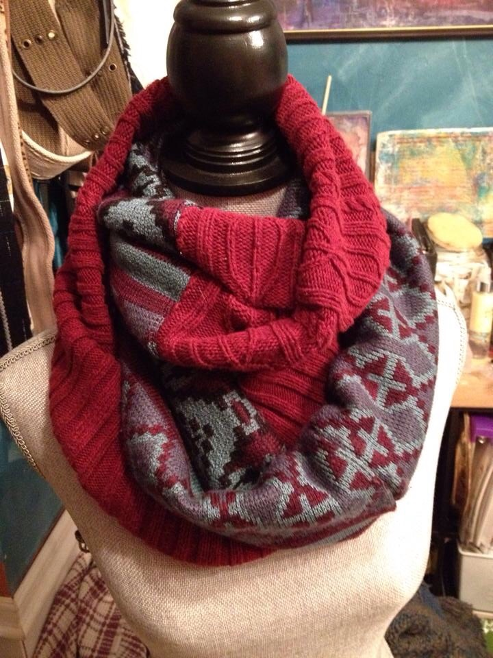 Two tone infinity scarf made with up cycled sweaters