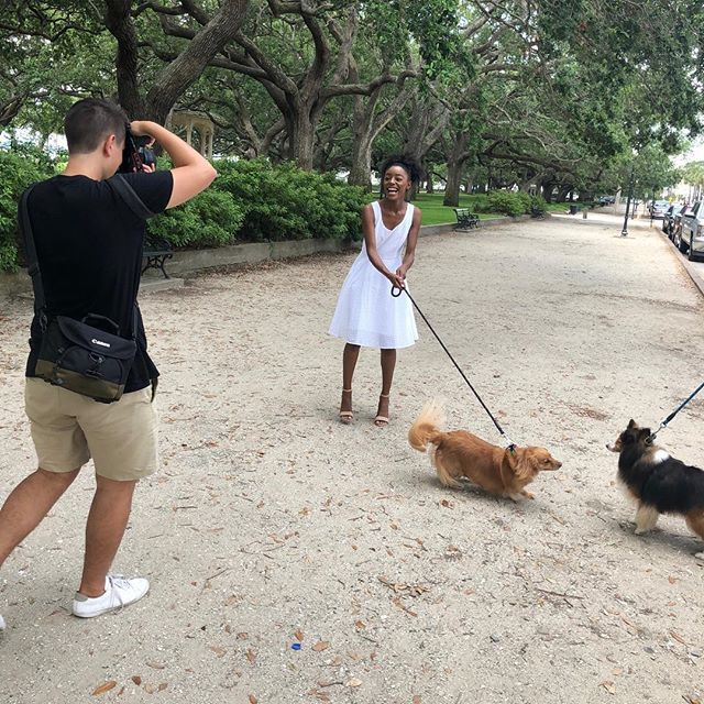 Behind the scenes 😉 with @jessevolk ~ The Dunes Dress #puppylove #maravea #lowcountry #resort #madeinthesouth