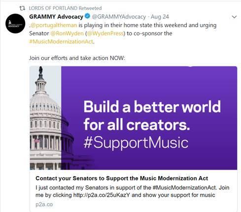 GRAMMY Advocacy Tweet
