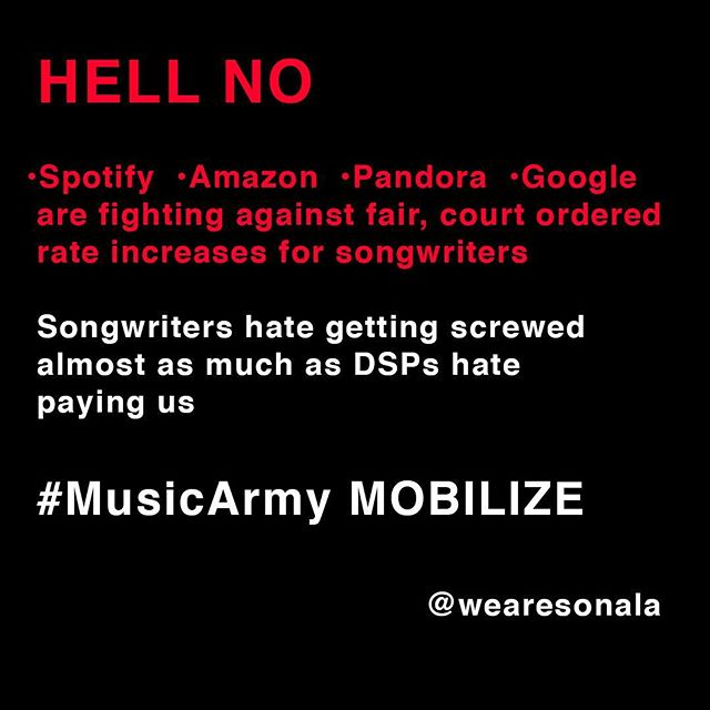 What @spotify @amazonmusic @pandora + @google are doing is WRONG. Songwriters negotiated with DSPs in good faith while they had their fingers crossed behind their backs. Interesting that @applemusic declined to join these greedy pricks in appealing the CRB ruling. Maybe because paying songwriters fairly is the right thing to do when your revenue comes from our work. We're subscribing to @applemusic's streaming service.  #MusicArmy