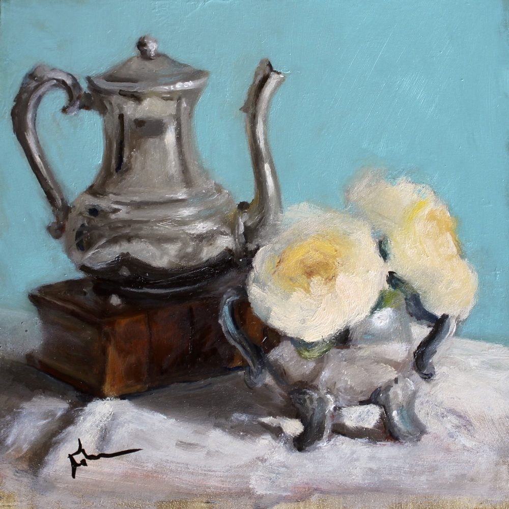 Teapot and White Roses