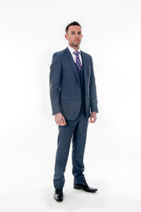 Tapered Fit Blue 3 Piece Suit