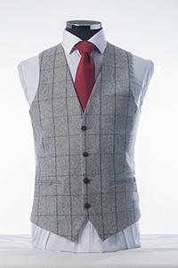 Grey & Navy Tweed Waistcoat