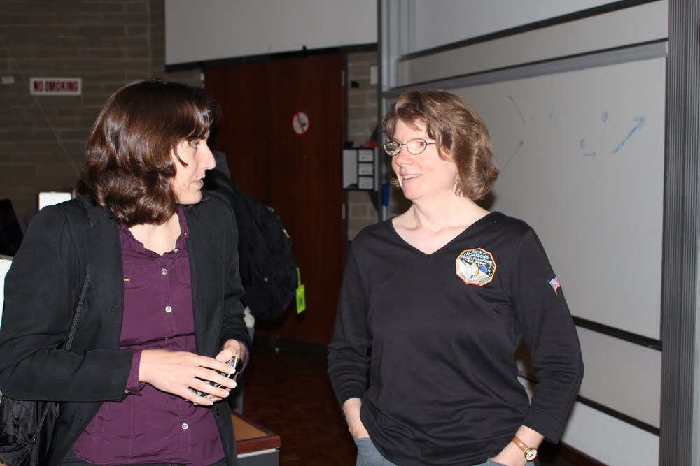 Prof. Anne Verbiscer (right) with fellow astronomer, Katie Mack (left).  Photo by Jacinta den Besten (reproduced with permission)