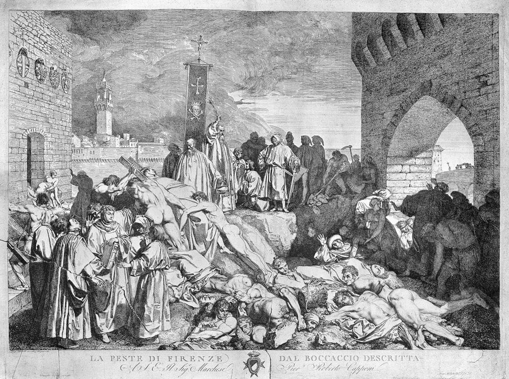 The plague of Florence in 1348, as described in Boccaccio's Decameron   Wellcome Trust/Wikimedia Commons  (CC BY 4.0)