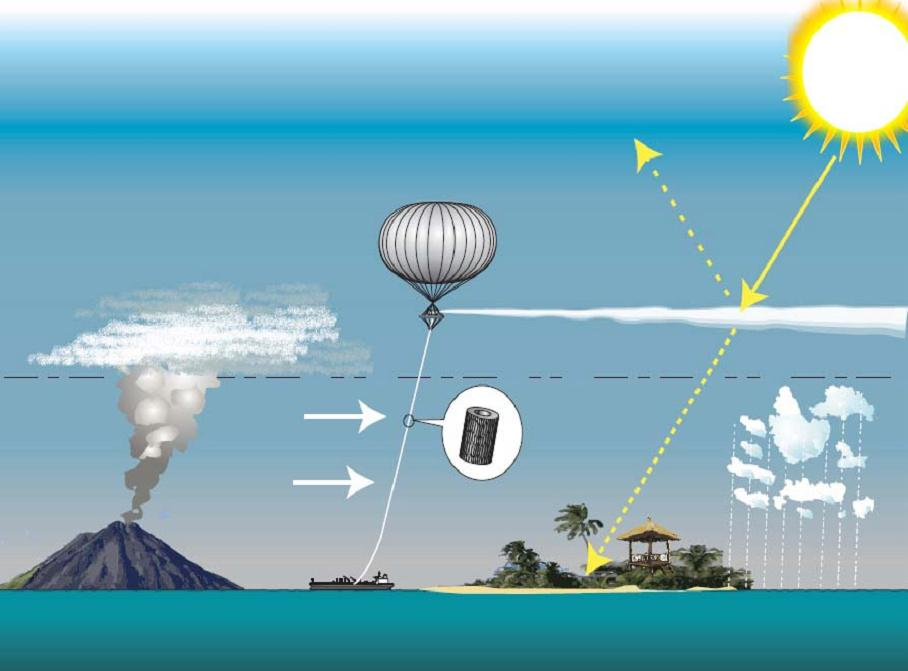 Geoengineering attempts to mimic the effect of sulfate aerosols released by volcanic eruptions. By injecting these particles into the stratosphere, some incoming solar radiation is reflected, cooling the Earth. Hughhunt/Wikimedia Commons (CC BY-SA 3.0)