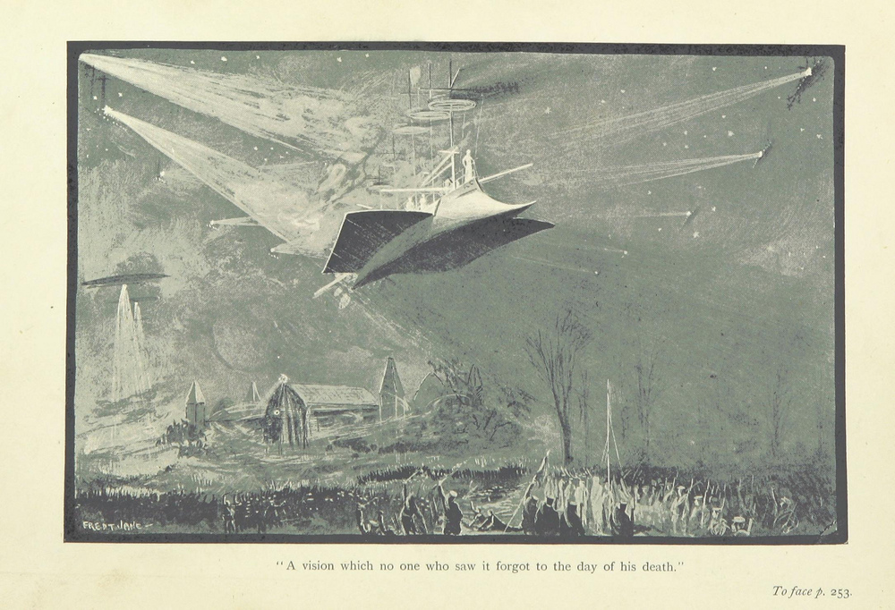 Science fiction often embraces dystopian visions of the future, including war or societal breakdown, such as in George Griffith's 1893 novel The Angel of the Revolution. The British Library/Flickr (public domain)