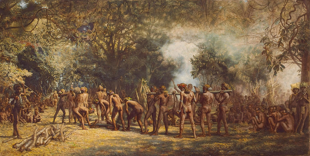 'Cannibal feast on the Island of Tanna, New Hebrides' (1891)   Charles E. Gordon Fraser/Wikimedia Commons  (public domain)