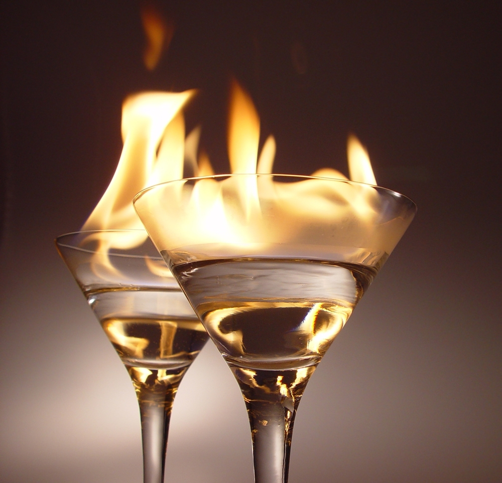 Cocktails with a high alcohol content are sometimes lit on fire before serving, in a technique devised by sailors in the 1700s. Valo/Wikimedia Commons (CC BY 2.5)