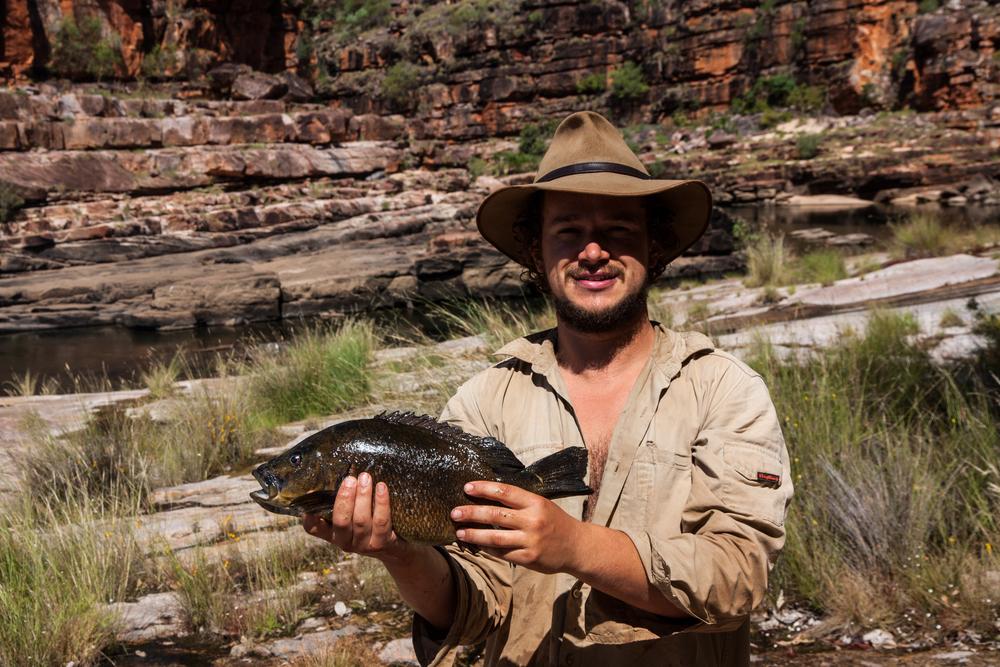 University of Melbourne ecologist Matt Le Feuvre holding a sooty grunter  (Hephaestus fuliginosus). © Matt Le Feuvre.