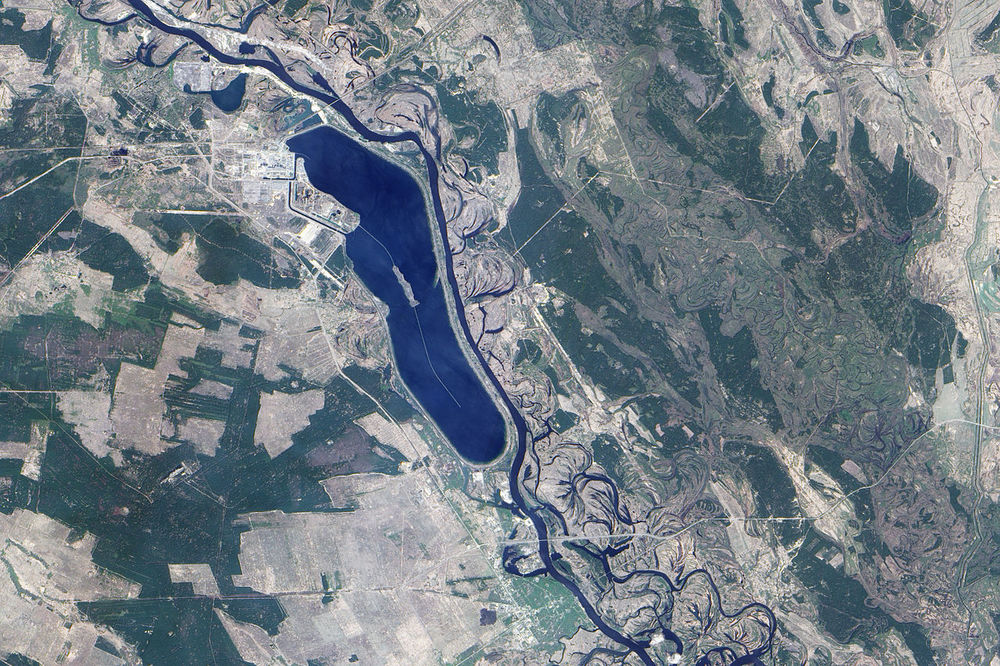 The Chernobyl area and surrounding countryside as seen from a satellite in April 2009, 23 years after the incident.     NASA Earth Observatory/Wikimedia Commons   (public domain)