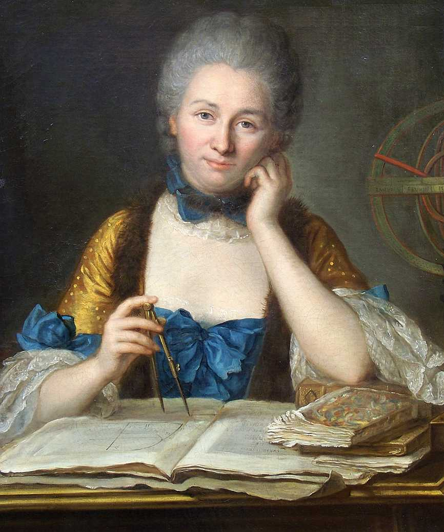 """Madame Du Châtelet at her desk"", a portrait by French Rococo artist Maurice Quentin de La Tour.   Wikimedia Commons  (public domain)"