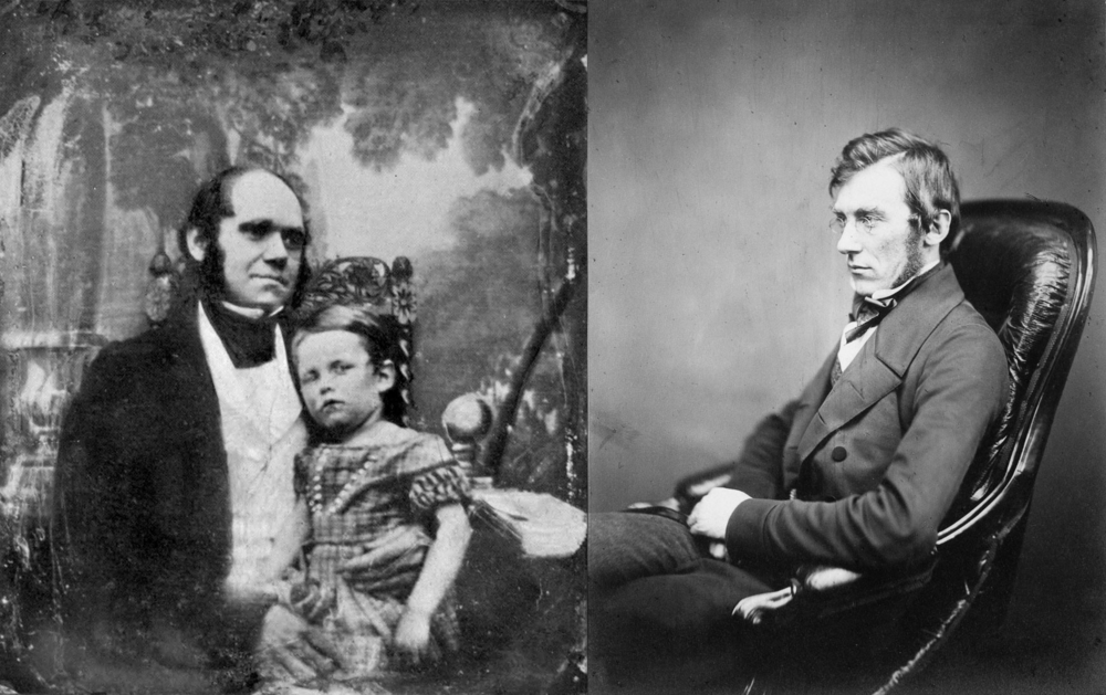 Charles Darwin (left, pictured with his son William in 1842) and Joseph Hooker (right) became lifelong friends in the 1840s and often discussed Darwin's evolutionary theories. Unknown/Wikimedia Commons (public domain); Kew Royal Botanical Gardens (public domain)