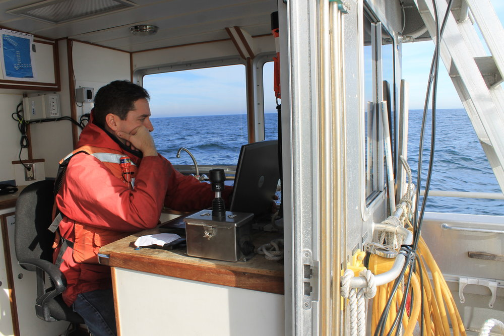 Baumgartner analysing glider results aboard the research vessel Auk. © Claudia Geib.