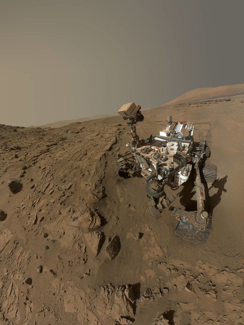 The Curiosity rover takes a quick selfie on Mars. While the series of Mars' roving robots have made huge discoveries, a person is able to get through a lot more science in a lot less time.   NASA  (public domain)