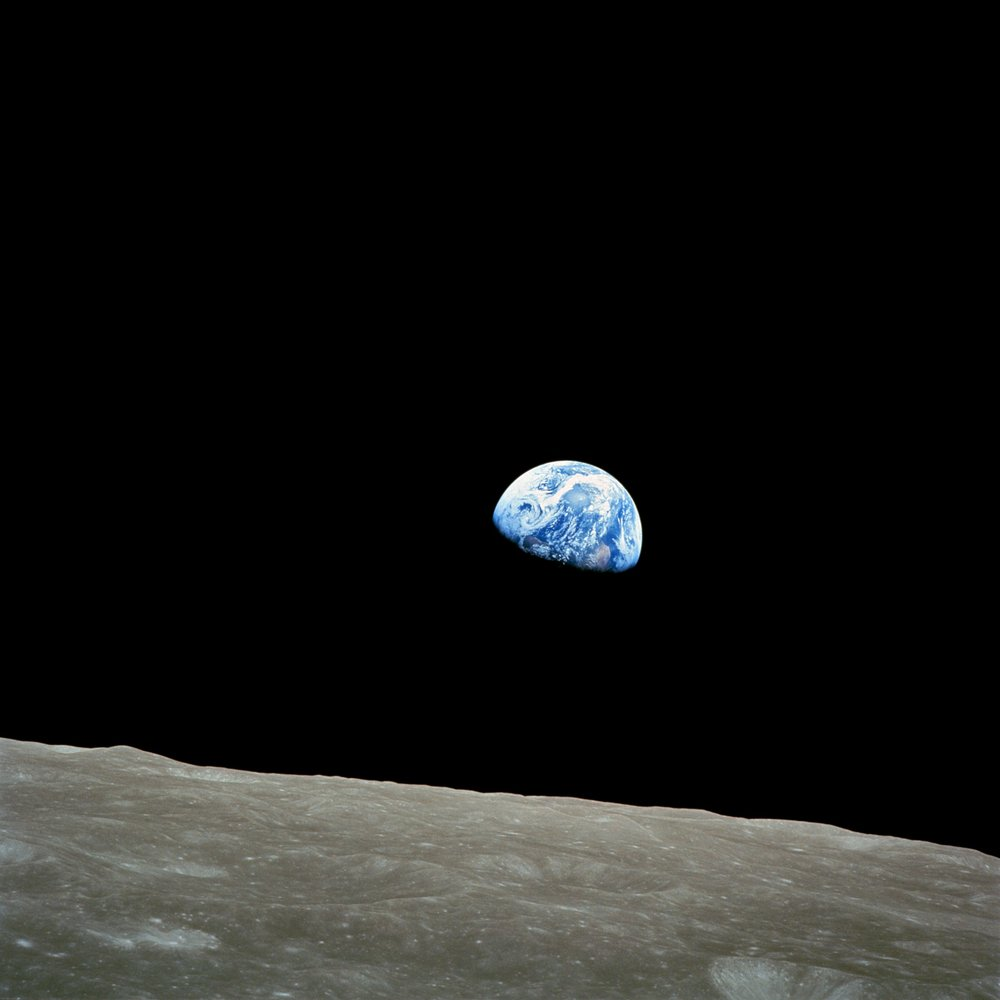 The Apollo 8 crew shot this captivating and poignant image, Earthrise at Christmas, in 1968. NASA/William Anders (PD-USGov-NASA)