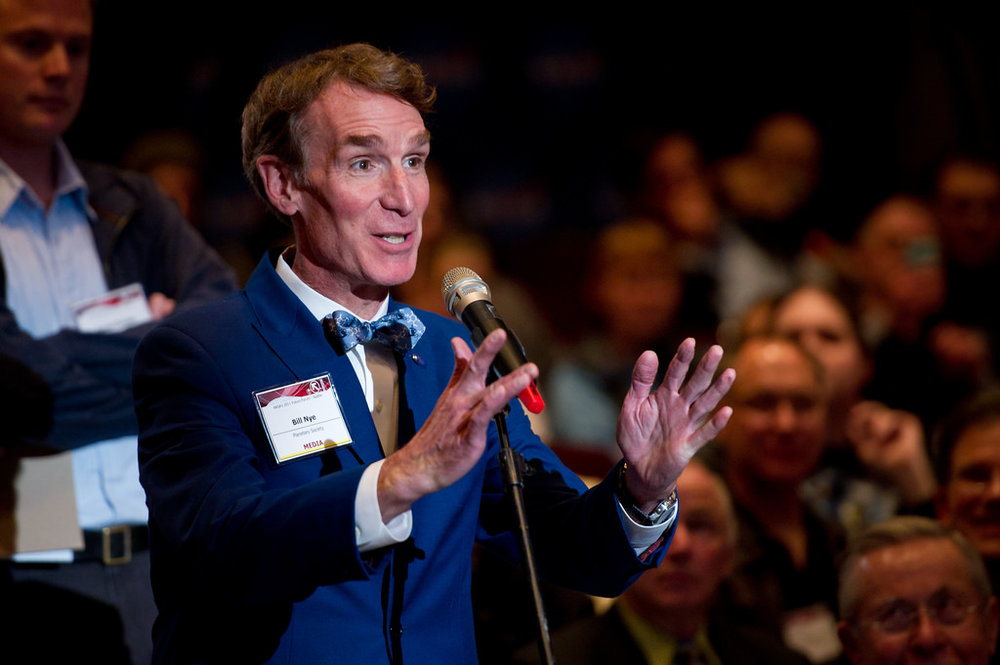 Famous science communicators, such as Bill Nye the Science Guy, serve as role models for scientists starting to do science outreach.   NASA/Bill Ingalls/Flickr  (CC BY-NC-ND 2.0)