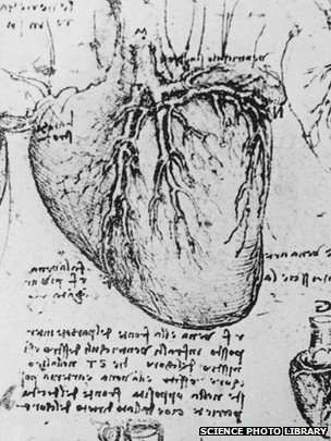 Leonardo da Vinci's anatomical drawing of the heart.   BBC/Science Photo Library  (public domain)